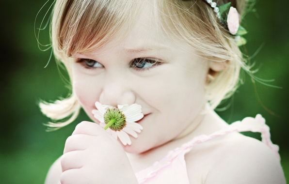 Picture flower, mood, Daisy, girl, child