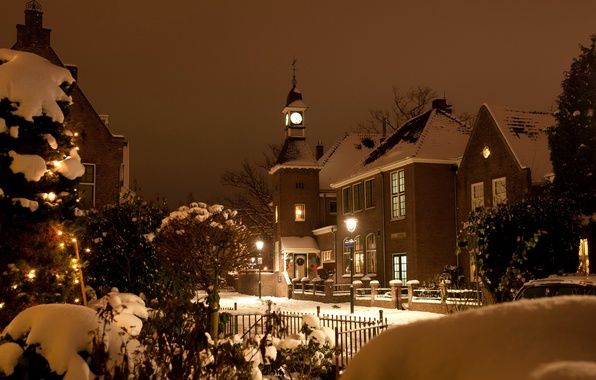 Picture winter, light, snow, the city, street, building, Christmas, the evening, Church, Netherlands