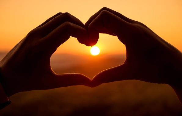 Picture the sky, girl, the sun, love, sunset, background, mood, heart, hands, girl, love, heart, sunset