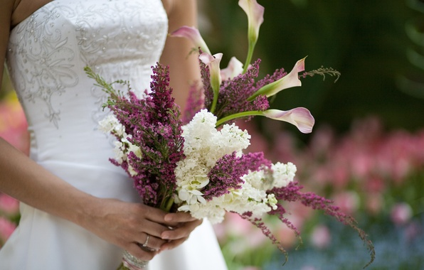 Picture bouquet, the bride, lilac, Wedding, Calla lilies