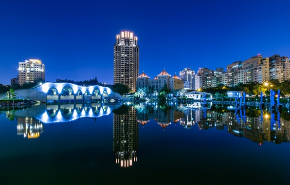 Picture the sky, night, the city, lights, reflection, river, home, lighting, Taiwan, architecture, blue, river, sky, …