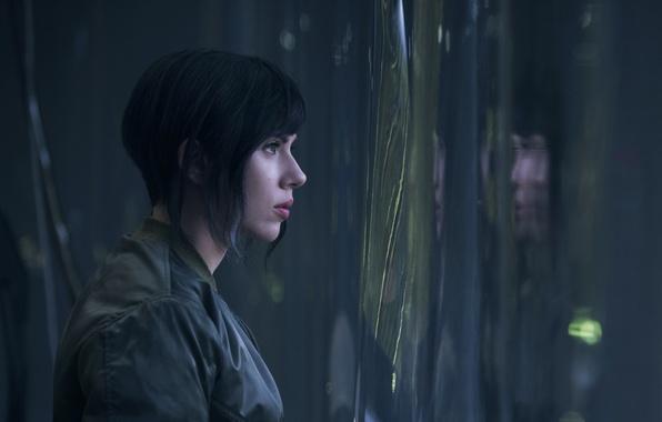 Picture Scarlett Johansson, cinema, wallpaper, green eyes, woman, anime, short hair, movie, Ghost in the Shell, …