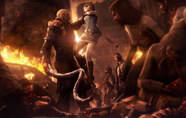 Picture girl, the city, death, street, infection, zombies, resident evil, biohazard, nemesis, Tyrant, Raccoon City, T …