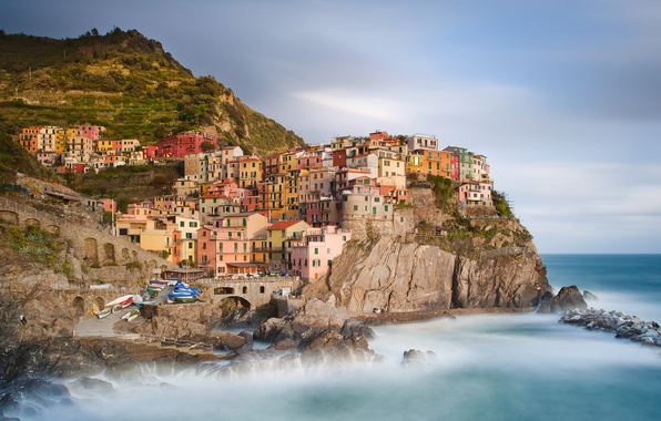 Picture landscape, nature, the city, stones, rocks, shore, coast, building, home, boats, Italy, Italy, The Ligurian ...