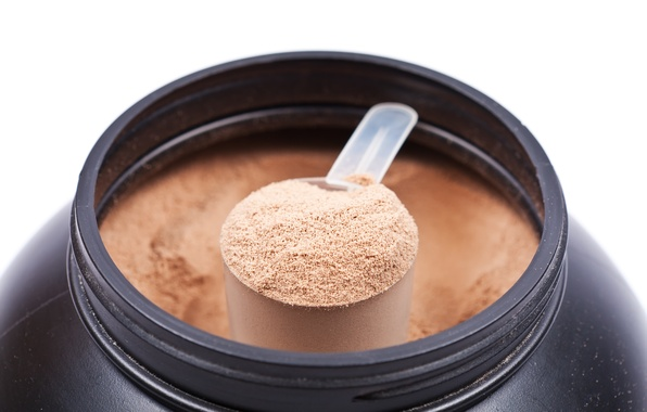 Photo wallpaper protein shakes, liquid, powder, spoon