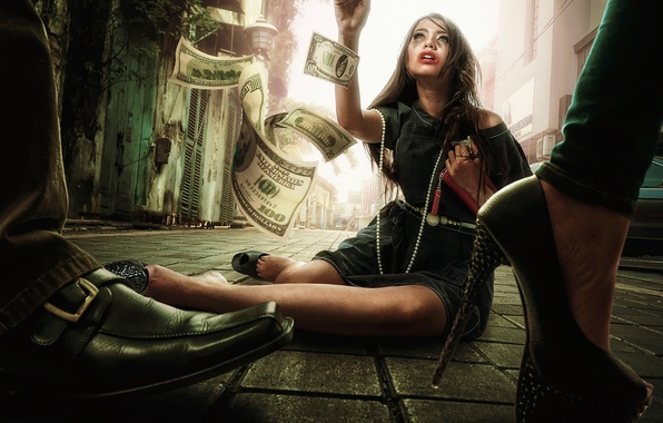 Picture girl, street, money, dollars, bills, passers-by