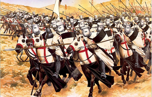 Picture attack, figure, horse, art, the battle, the Templars, knights, Stroy, spears, Templar, banner, chain mail, …