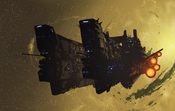 Picture stars, lights, lights, engine, ship, Space, turbine