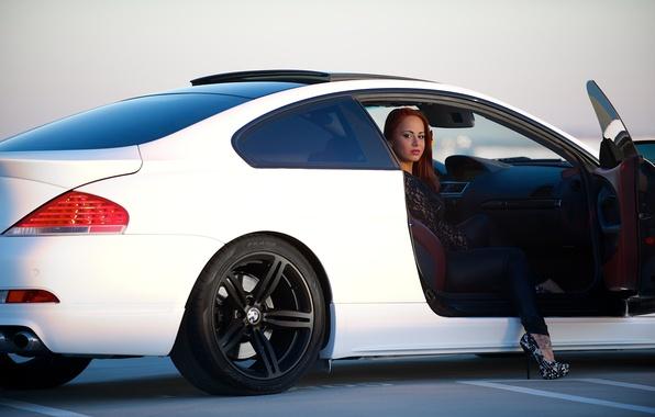 Picture white, girl, bmw, BMW, girl, white, leg, side view, e63, door