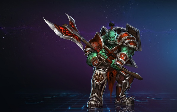 Wallpaper Orc, wow, axe, warrior, Warcraft, World of ...