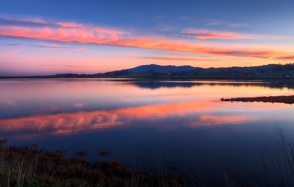 Picture the sky, sunset, lake