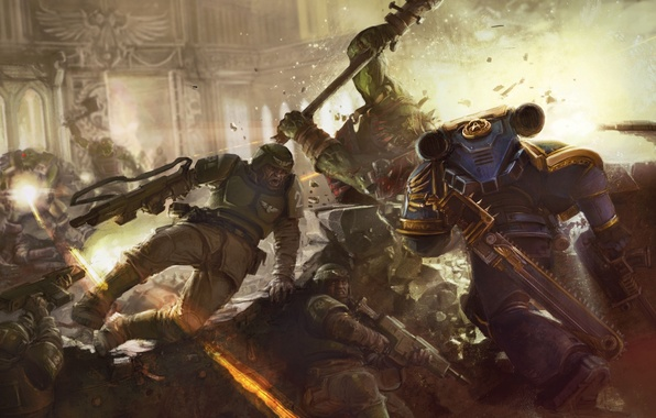 Picture fight, orcs, space Marines, Warhammer 40k, Imperial guard, Ultramarines