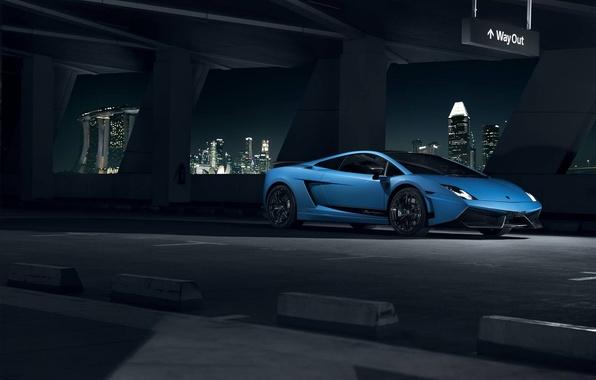 Picture Lamborghini, City, Superleggera, Gallardo, Blue, Front, LP570-4, Supercar, Ligth, Nigth