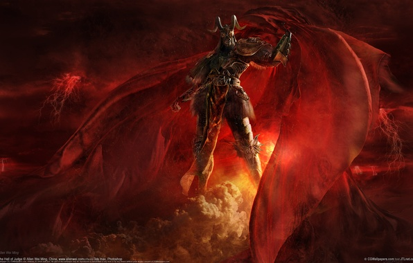 Picture red, fiction, monster, the demon, warrior, horns, cloak