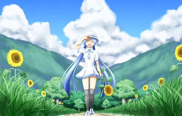 Picture girl, the sun, clouds, trees, joy, sunflowers, nature, mood, vocaloid, hatsune miku, Vocaloid, art, nanatsuba