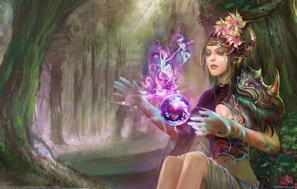 Picture forest, girl, magic, fairy, art, Huang Tea