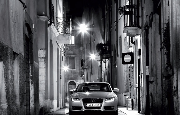 Picture night, Audi, street, black and white, lights