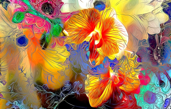 Picture line, flowers, rendering, paint, plant, petals, garden, meadow