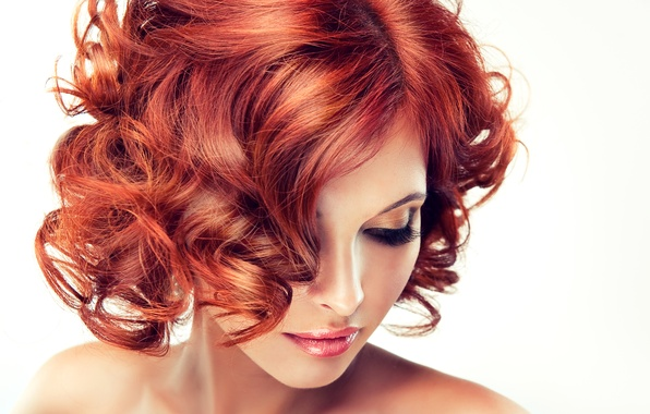 Picture model, makeup, lips, white background, red hair, shoulders, curls