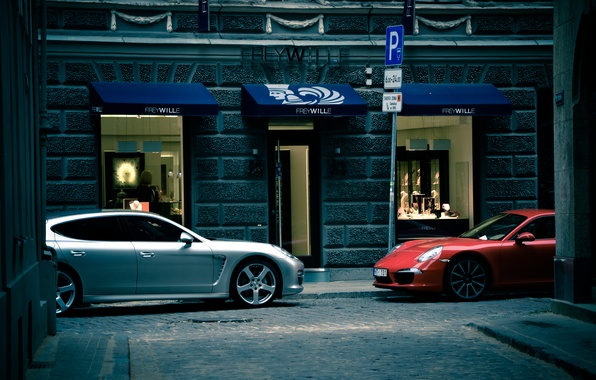 Picture white, red, Porsche, cars, Panamera