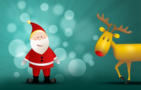 Picture holiday, graphics, new year, Christmas, deer, tree, christmas, new year, Santa Claus, Santa Claus, bokeh