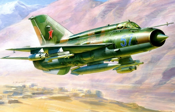 Picture the plane, figure, fighter, Zhirnov, Mikoyan and Gurevich, the MiG-21