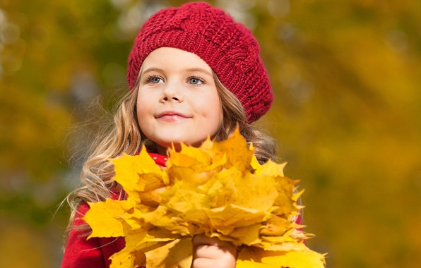 Picture autumn, look, leaves, blonde, girl, takes, gray-eyed