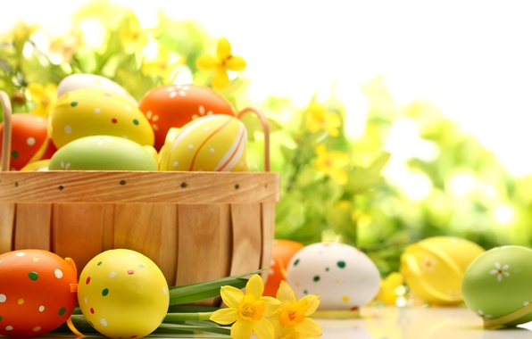 Picture flowers, table, holiday, basket, eggs, spring, yellow, green, Easter, orange, daffodils, Easter, Easter