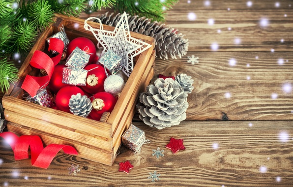 Picture snow, decoration, balls, tree, New Year, Christmas, Christmas, wood, decoration, Merry