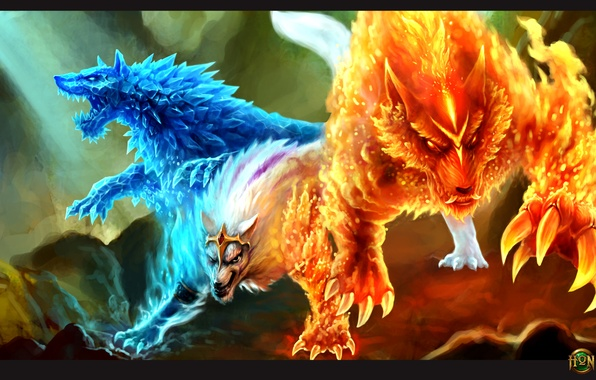 Picture ice, fire, wolf, hon, Heroes of Newerth, Gemini