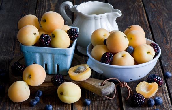 Picture food, BlackBerry, apricots, blackberry, milk, apricots, Anna Verdina