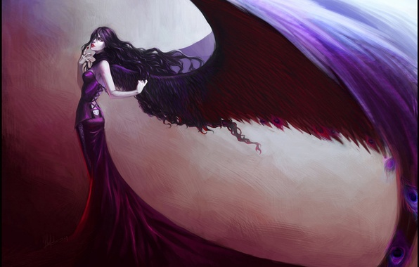 Picture girl, wings, feathers, dress