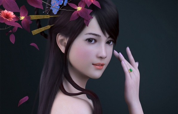 Picture girl, flowers, hand, ring, Asian, render, zhang qiang