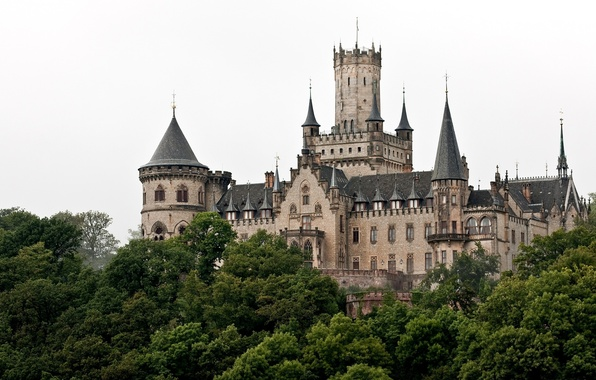 Picture trees, castle, Germany, tower, Germany, spires, Marienburg Castle, Hannover, neo-Gothic, Marienburg, Hanover