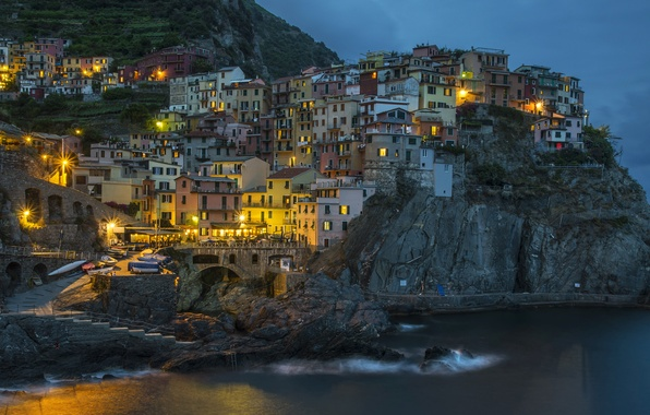 Picture sea, night, lights, rocks, home, Italy, Manarola, Cinque Terre
