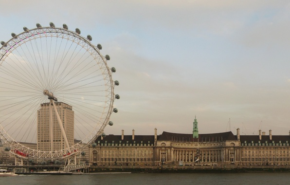 Picture England, London, Water, Home, Photo, The city, River, Wheel, Shore, Building, Thames, London, The London ...