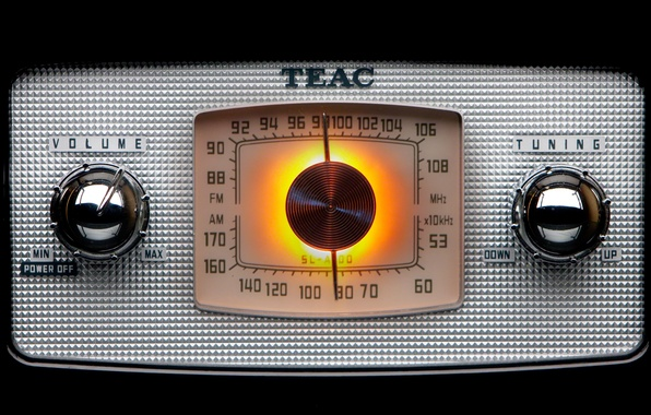 Picture light, silver, metal, tuning, old, off, numbers, volume, Radio