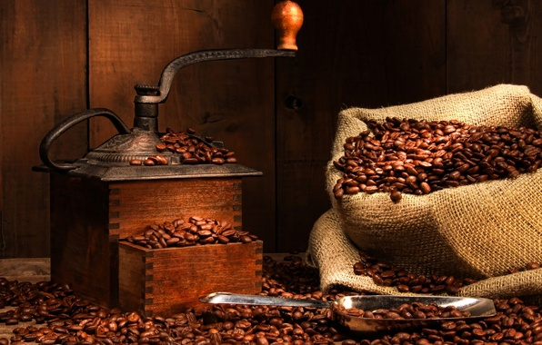 Picture coffee, bag, grinder, coffee beans