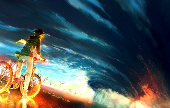 Picture Storm, Guy, Bike, By yuume, Into the storm