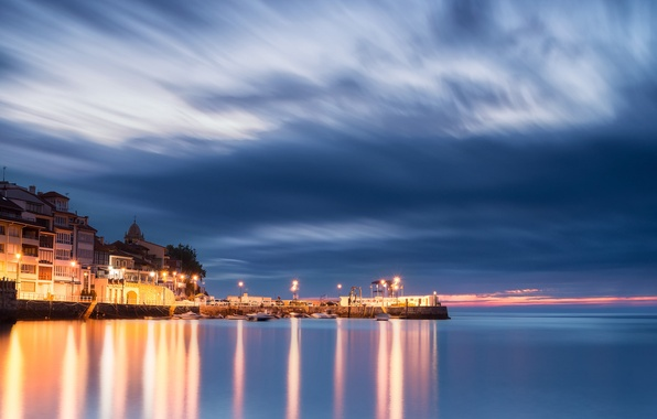 Picture the sky, clouds, lights, home, the evening, lighting, port, lights, blue, Spain, Asturias, The Bay …