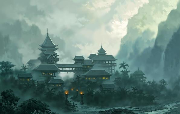Picture landscape, mountains, bridge, the city, lights, fog, river, jade dynasty
