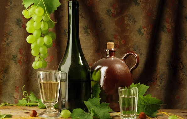 Picture leaves, glass, wine, bottle, grapes, vodka, glass