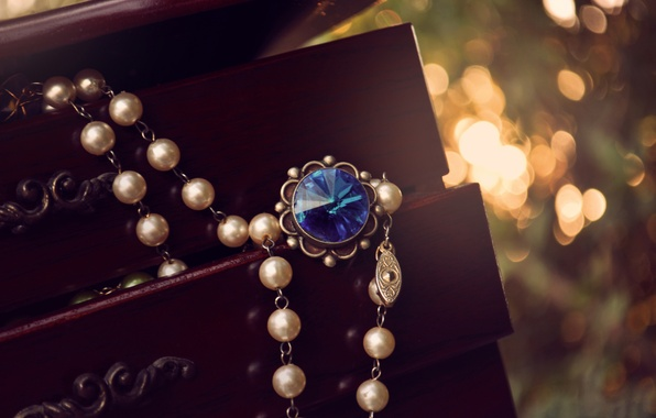 Picture blue, stone, pendant, box, beads, suspension, bokeh