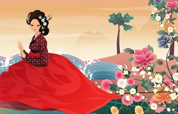 Picture water, girl, flowers, fan, art, Asian, hanbok