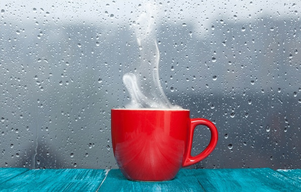 Picture glass, drops, surface, light, reflection, creative, rain, positive, blur, mug, Cup, after the rain, table, …