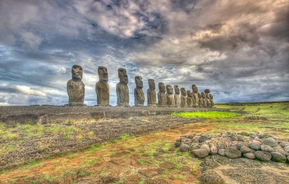 Picture the sky, clouds, Easter island, statue, Chile, Rapa Nui, moai