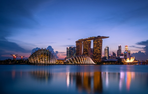 Picture clouds, sunset, lights, lights, reflection, skyscrapers, the evening, backlight, Bay, Singapore, architecture, megapolis, sunset, clouds, …
