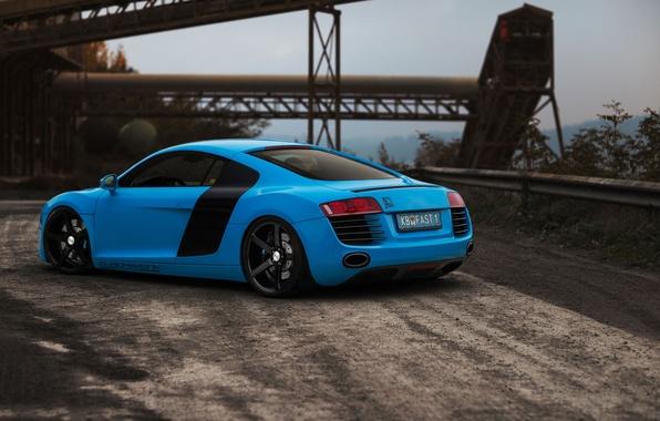 Picture road, Audi, blue, Audi, rear view, blue, bump