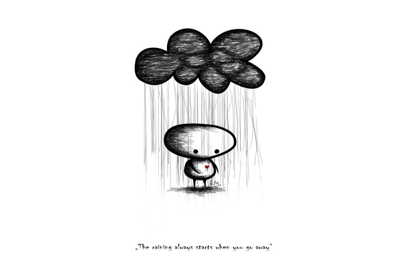 Picture rain, mood, heart, people, words, the phrase, the expression, mood