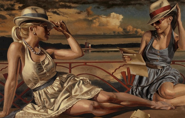 Picture summer, girls, stay, figure, picture, glasses, hats, dresses, Peregrine Heathcote